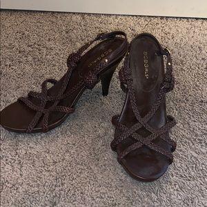 BCBGirls brown braided leather stilettos: sz 10